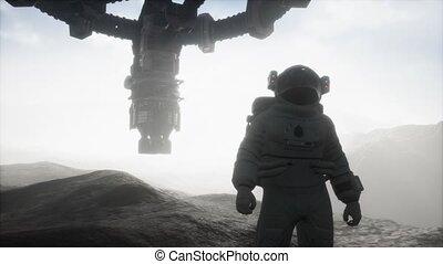 planète, astronaute, mars, marche