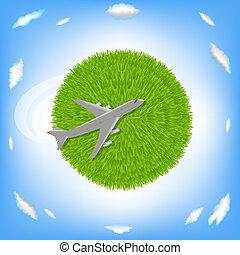 planète, avion, vert