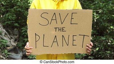 planète, awareness., concept, affiche, volunteer's, mains, ...