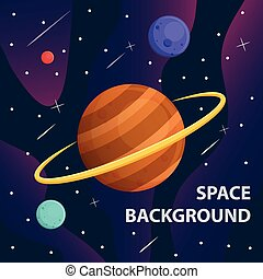 planète, bannière, galaxie, saturne, espace, vecteur, fond