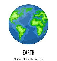 planète, blanc, dessin animé, arrière-plan., style, vecteur, design., isolé, illustration, n'importe quel, solaire, la terre, system.
