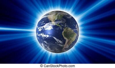 planète bleue, briller, tourner, rayon