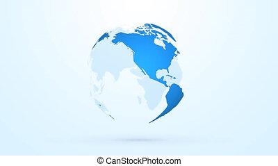 planète bleue, globe, tourner, la terre, boucle, interminable