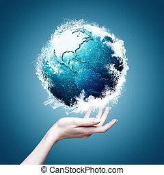 planète bleue, résumé, arrière-plans, ambiant, conception, ton