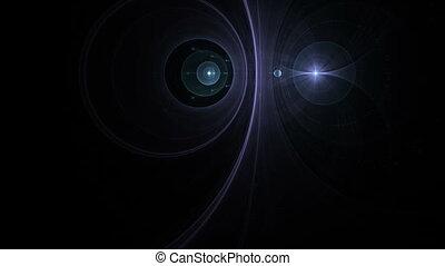 planète bleue, rayons, lumière, espace