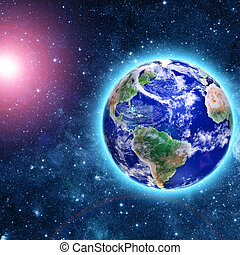 planète bleue, venir, comète, espace