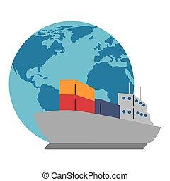 planète, cargo, mondiale