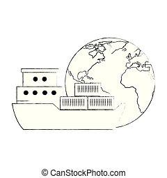 planète, cargo, mondiale, la terre