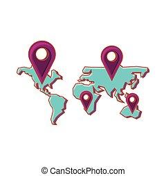 planète, carte, indicateurs, emplacement, la terre