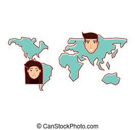 planète, carte, tête, la terre, gens