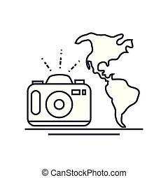 planète, cartes, appareil photo, la terre, mondiale, photographique