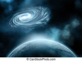planète, ciel, galaxie, fictif, nuit
