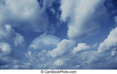 planète, ciel, nuageux
