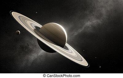 planète, commandant, saturne, lunes