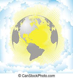 planète, contre, soleil