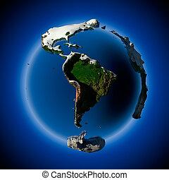 planète, couvert, neige, dérives, la terre