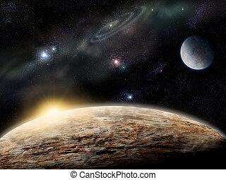planète, dans, espace