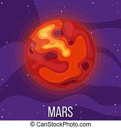 planète, dessin animé, mars, style, space., coloré, vecteur, mars., design., illustration, n'importe quel, univers
