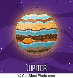 planète, dessin animé, style, jupiter, space., coloré, vecteur, design., illustration, n'importe quel, jupiter., univers