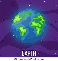 planète, dessin animé, style, space., coloré, vecteur, design., illustration, n'importe quel, la terre, univers, earth.