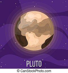 planète, dessin animé, style, space., coloré, vecteur, design., pluton, pluto., illustration, n'importe quel, univers