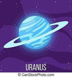 planète, dessin animé, style, space., uranus, coloré, vecteur, design., illustration, n'importe quel, univers, uranus.