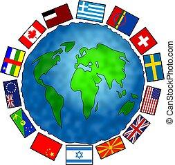 planète, drapeau