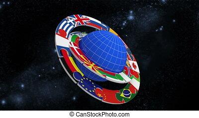 planète, drapeaux, anneaux