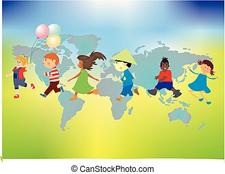 planète, enfants, jour, la terre