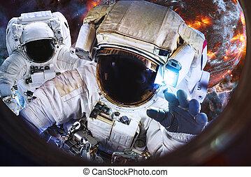 planète, espace, la terre, eaxploding, astronautes