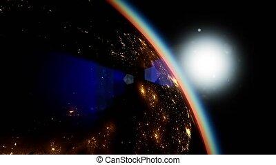 planète, espace, soleil, la terre, nuit