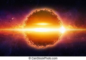 planète, exploser, espace