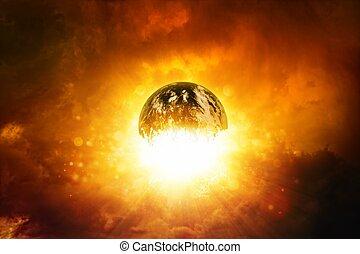 planète, explosion