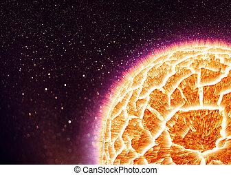 planète, explosion, simulé