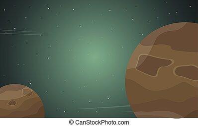 planète, extérieur, dessin animé, paysage, espace