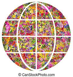 planète, fleurs, concept, earth-