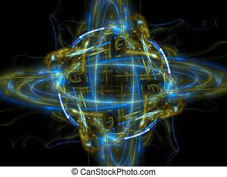 planète, fractal, ou, atome