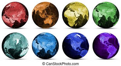 planète, globe, icônes