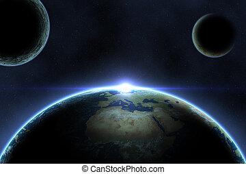 planète, grand, espace