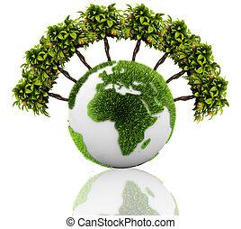 planète, herbe, arbre