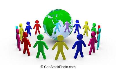 planète, hommes, coloré, autour de, 3d