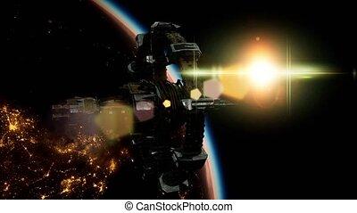 planète, international, station, sur, la terre, espace