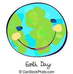 planète, jour, enfantin, la terre, peinture, célébration