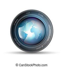 planète, lentille, intérieur, appareil photo, la terre