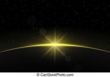planète, levers de soleil, conception, ton, gabarit