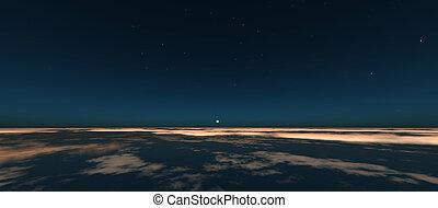 planète, levers de soleil, espace