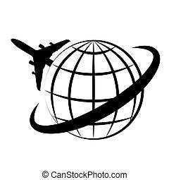 planète, logo, transport, air