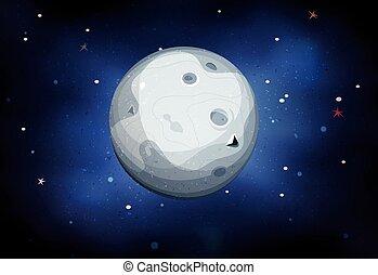 planète, lune, fond, espace