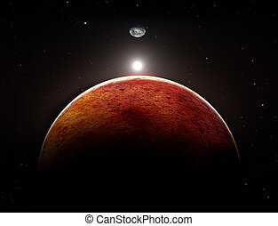 planète, lune, illustration, mars