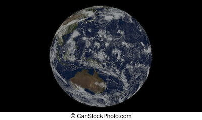 planète, lustré, incandescent, rotation, particles.